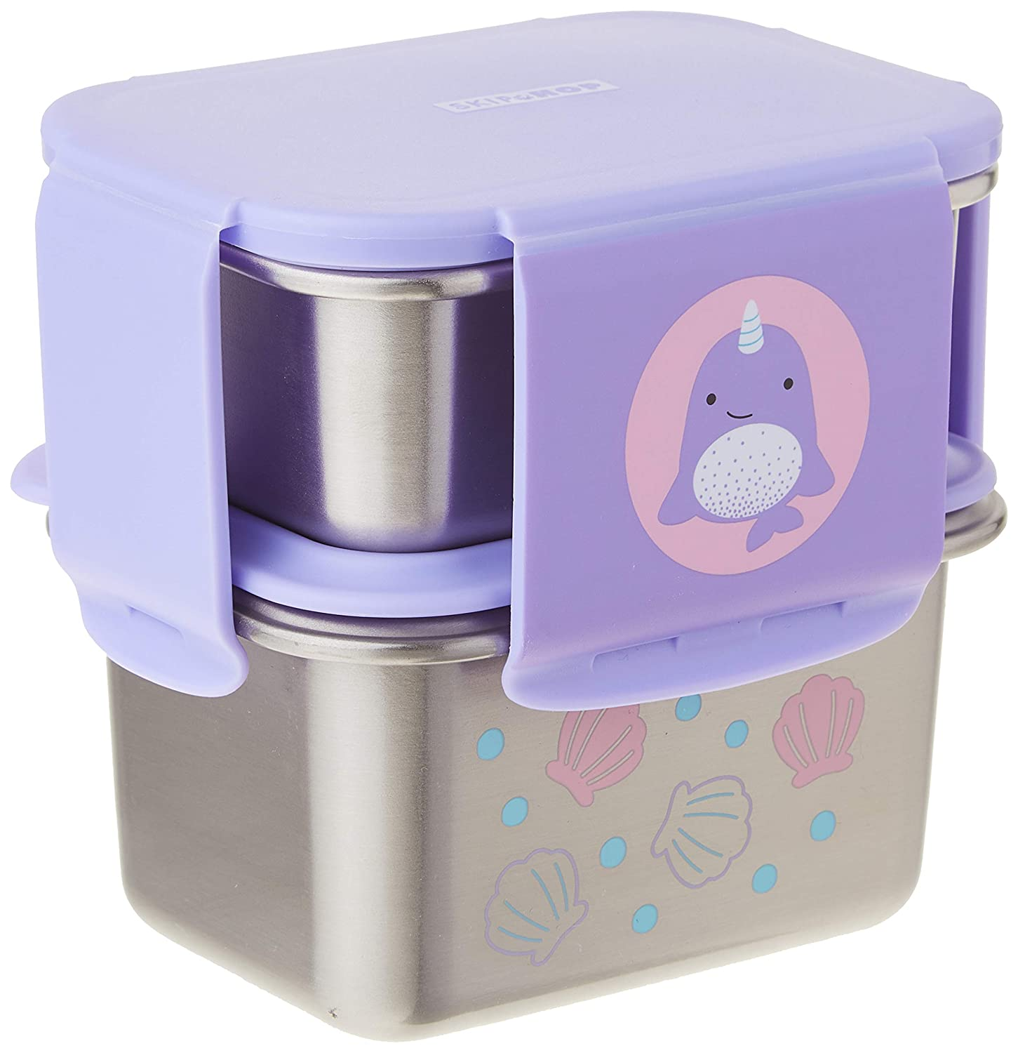 Skip Hop Toddler Stainless Steel Lunch Box Kit, Zoo, Narwhal