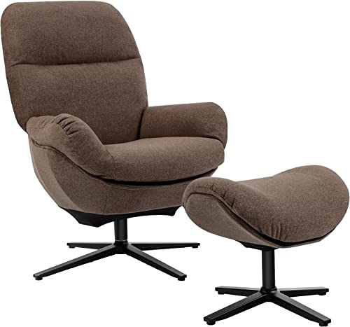 discount Giantex Swivel Lounge Chair w/Ottoman, Upholstered 360 Accent Lazy Recliner Armchair w/Rocking online online Footstool, Aluminum Alloy Base, Comfy Fabric Leisure Sofa Club Chair, Support to 330lbs, Brown online sale