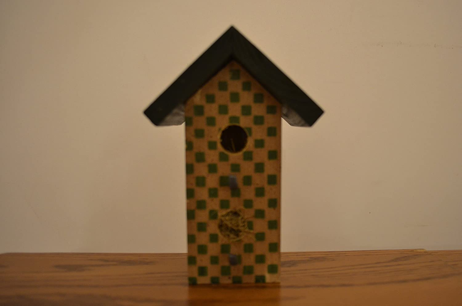 Amish Wares Wood Standing Max 53% OFF Green Bir and Tan Decoration Checkered 55% OFF