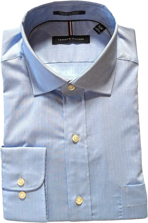 Tommy Hilfiger Mens Regular Fit Dress Shirt Blue Light Dot