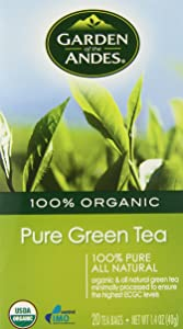 Garden of the Andes Herbal Organic Caffeine Green Hot Tea Bags, 0.9 oz, 20 Tea BagCount (Pack of 6 Boxes)