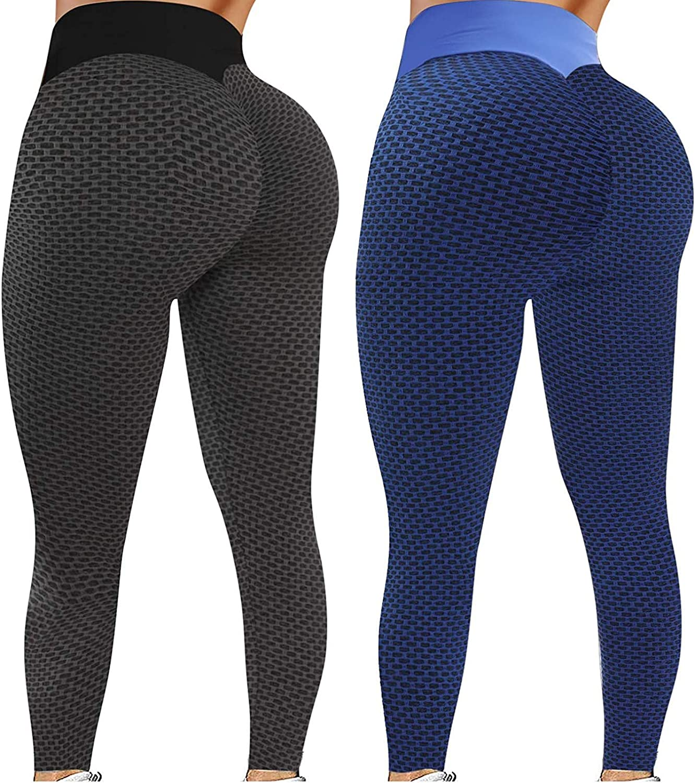 2 Pack Leggings for Women Butt Lift,Anti Cellulite Workout Leggings for Women Ruched Butt Lifting Yoga Pants Tummy Control Tight Leggings