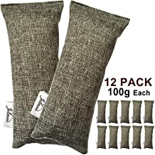 Jalousie 12 Packs 100g Each Mini Bamboo Charcoal Bags Natural Air Purifier, Shoe Deodorizer and Odor Eliminator (Pack of 12 Bags)