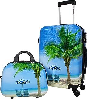 World Traveler Palm Tree Hardside 2-Piece Carry-On Spinner Luggage Set, One_Size