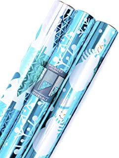 Hallmark Reversible Christmas Wrapping Paper (Pack of 3; 60 sq. ft. ttl.) Elegant Foil, Blue and Silver Trees, Snowflakes, Snowmen, Stripes