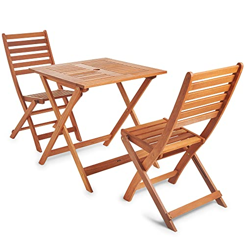 7e35f6ac8e7 VonHaus Wooden Table and Chair Set - Traditional Garden   Patio Dining Furniture  Set (70