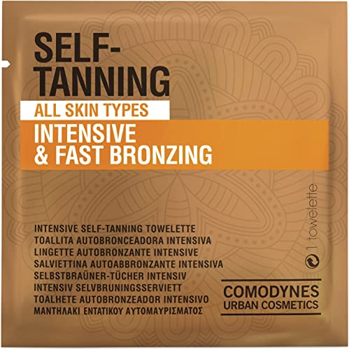 high quality Comodynes Self-Tanning new arrival Intensive 2021 and Uniform Color Towels for Face and Body - Intensive and Fast Bronzing - All Skin Types - Individually Wrapped Towelettes - 24 Packs outlet sale
