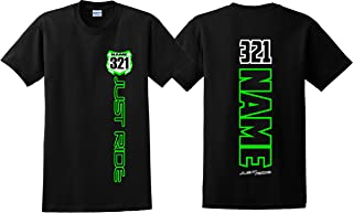 Motocross Number Plate Shirt MX Moto Personalized Kawi Lime Green KX