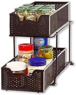 SimpleHouseware 2 Tier Sliding Cabinet Basket Organizer Drawer, Bronze