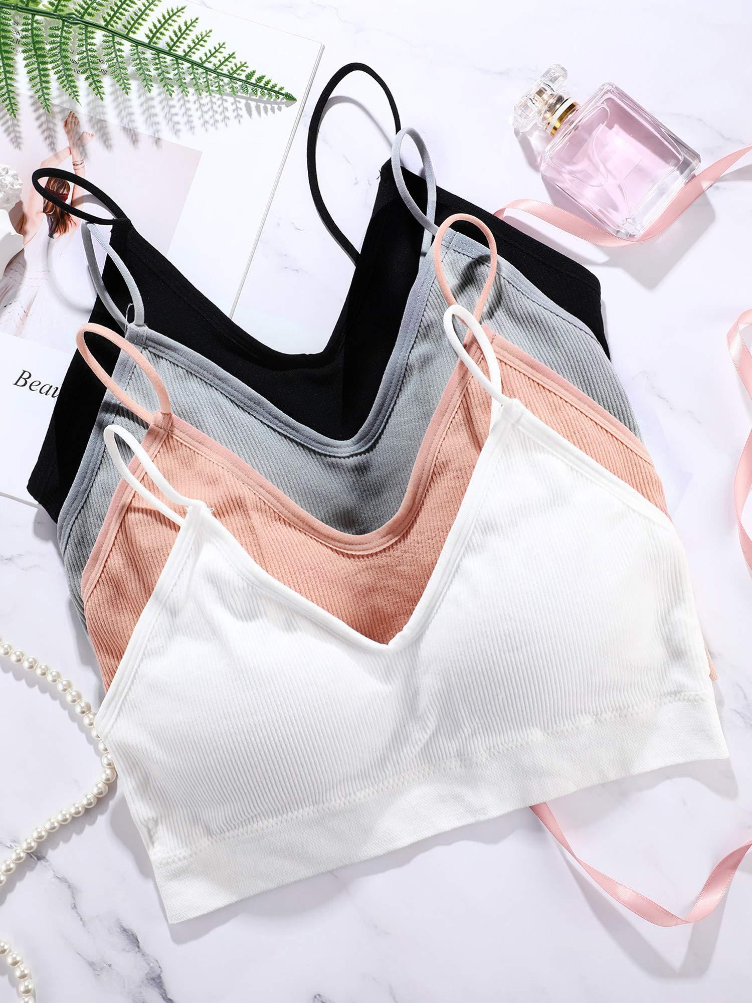 4 Pieces V Neck Cami Bra Padded Seamless Bralette Straps Sleeping Bra for Women Girls