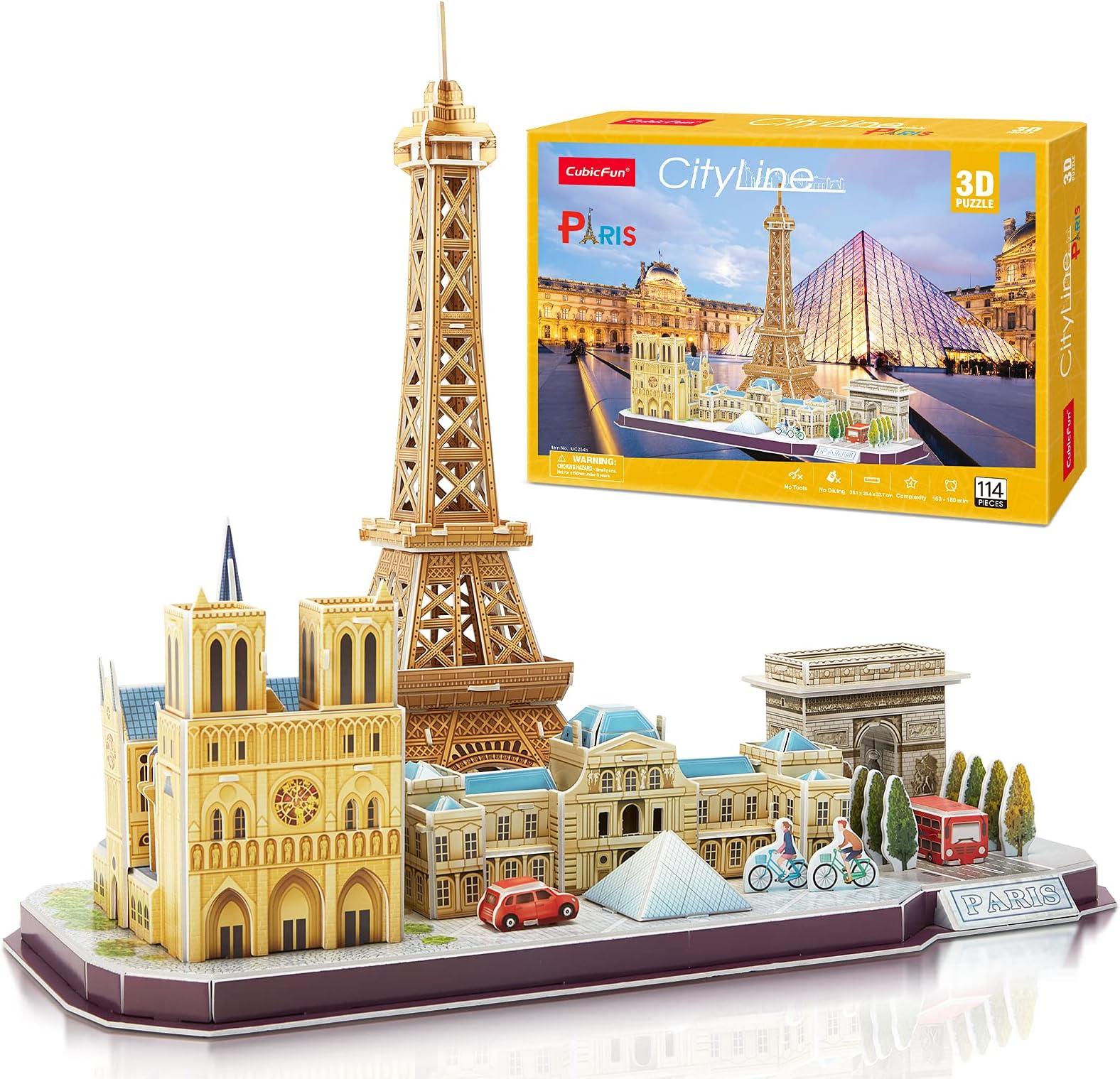 CubicFun 3D Puzzle for Adults and Kids Paris Cityline Architecture Building Model Kits Collection Gift for Women and Men, Eiffel Tower Notre Dame de Paris The Louvre 114 Pieces