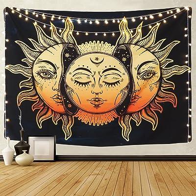 Alishomtll Tapiz tarot, sol y luna, psicodélico, mandala, decoración de pared, hippie, indio, 130 x 150 cm