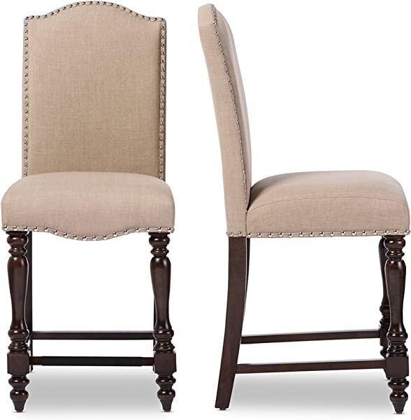 Baxton Studio Set Of 2 Zachary Chic French Vintage Oak Brown Beige Linen Fabric Upholstered Counter Height Dining Chairs