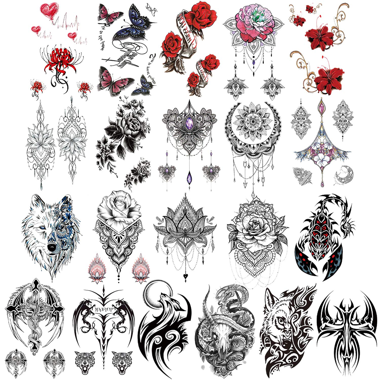 Konsait 21 Sheets New arrival Large Temporary Half Max 84% OFF Tattoo Arm Tattoos Sleeve