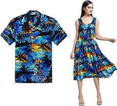 Couple Matching Hawaiian Luau Aloha Shirt Elastic Tank Dress in Sunset Blue
