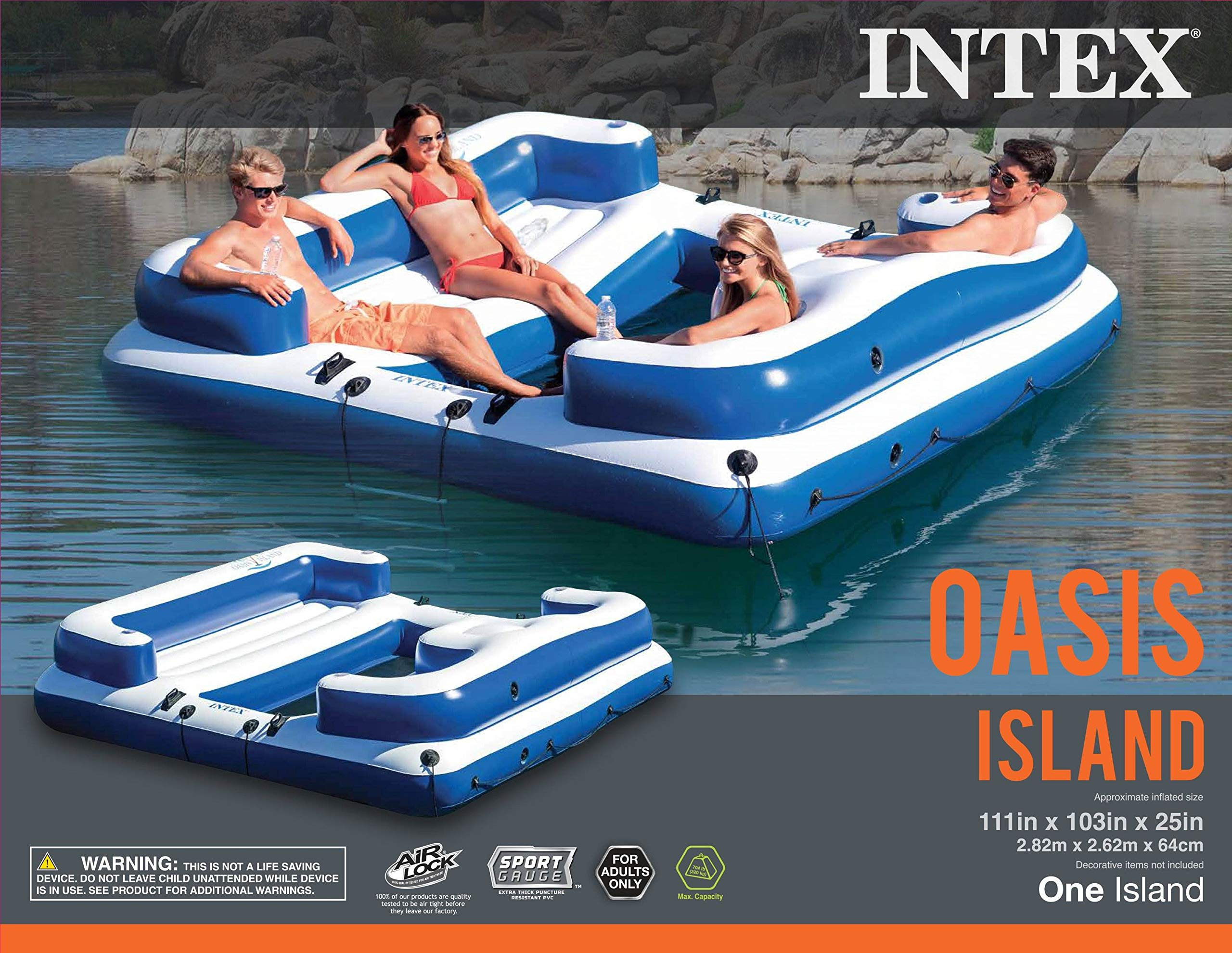 Intex Oasis Island Inflatable 5-Seater Lake/River Floating Lounge ...