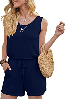 Sponsored Ad - DouBCQ Womens Summer Romper Casual Short Jumpsuits with Pockets