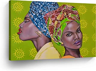 SmileArtDesign Portrait Traditional African Women Green Background Oil Painting Canvas Print Decorive Wall Art African Art Home Decor Stretched Ready to Hang -%100 Handmade in The USA - 15x22