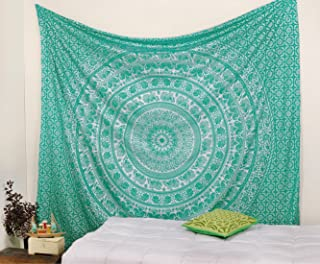 Popular Handicrafts Elephant Tapestry Wall Hanging Hippie Bohemian Mandala Wall Art with Metallic Shine Tapestries (215x230cms) Teal Green and Silver