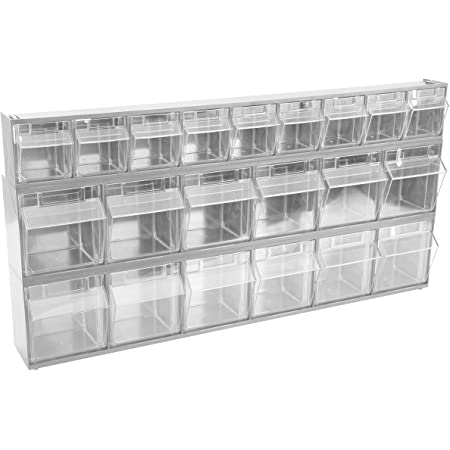 """OEMTOOLS 22181 21-Bin Set, Store Small Hardware, 23.625"""" x 12"""", Labels Included, Organization and Storage, Easy to Mount, Gray"""