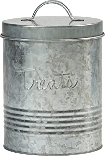 Amici Pet, A7YY024GALR, Retro Treats Galvanized Relief Lettering Metal Storage Canister, Food Safe, Push Top, 72 Ounces