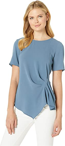 Short Sleeve Side Gather Asymmetrical Hem Blouse
