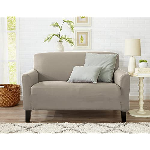 Great Bay Home One Piece Loveseat Silpcover, Slip Resistant, Stylish  Furniture Cover/Protector