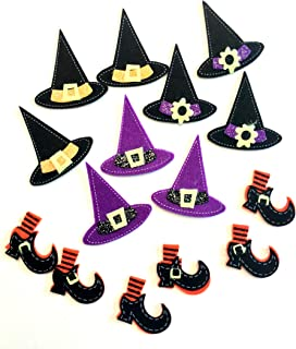 Cute Artsy Halloween Felt Stickers for Kids Crafts, Scrapbook and Card Embellishments (Witch)