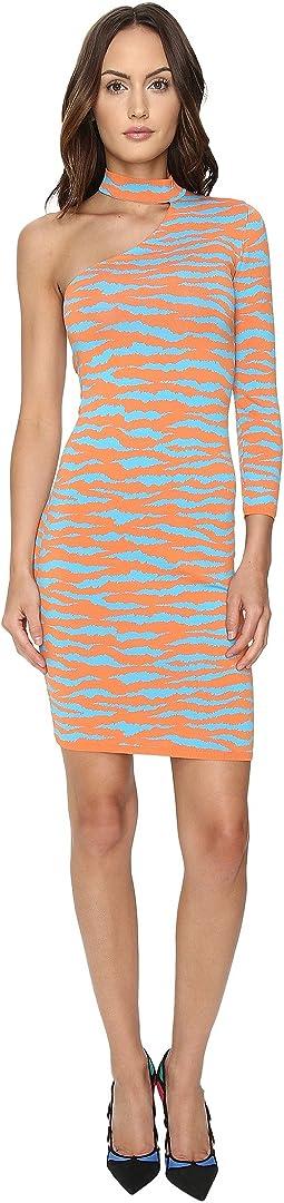 One Shoulder Tiger Knit Dress