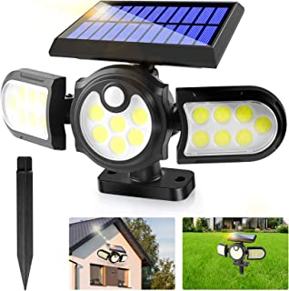 Solar Lights Outdoor,2 in1 Solar Powered In-Ground Spotlight with 140 COB LED Automatic Motion Sensor,360 °Rotable Waterpr...