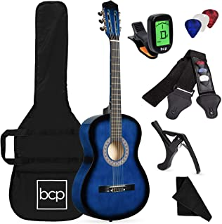 Best Best Choice Products 38in Beginner All Wood Acoustic Guitar Starter Kit w/Case, Strap, Digital Tuner, Pick, Strings - Blueburst Reviews