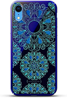 Ornament: Turquoise & Blue Mandalas with Apple Logo Circle | Luxendary Gradient Series Clear Ultra Thin Silicone Case for iPhone XR (6.1