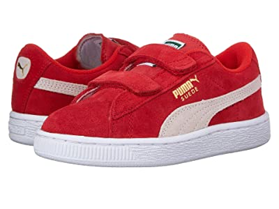 Puma Kids Suede 2 Straps (Little Kid) (High Risk Red/Puma White) Kids Shoes