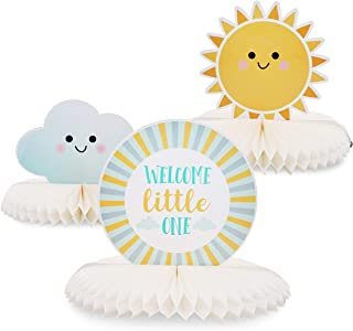 Blue Panda 3-Piece Baby Shower Party Table Decoration - Welcome Little One Honeycomb Centerpiece Party Supplies, Sunshine and Cloud Design
