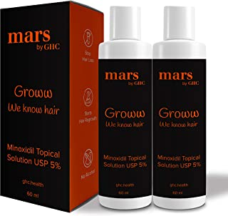 mars by GHC 5% Topical Solution for Hair Growth (Pack of 2) | Control Hair Fall | Healthy & Strong hair (120ml)