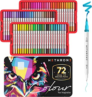HETHRONE Dual Tip Brush Pen Art Markers for Adults Coloring,Brush and Fine Tip Markers for Coloring Books Drawing & Journa...
