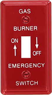 Morris 83495 Emergency Metal Switch Plate, Utility Gas, Red