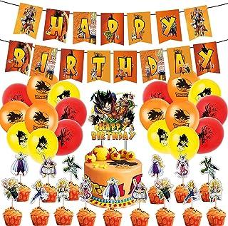 Dragon Ball Theme Party Supplies, Decoraciones de Cumpleaños de Dragon Ball Globos de Látex Decoracion Tarta Cumpleaños Pa...