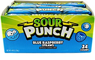 Sour Punch Straws, Sweet & Sour Blue Raspberry Flavored Soft, Chewy Candy, 2oz Tray (24 Pack)