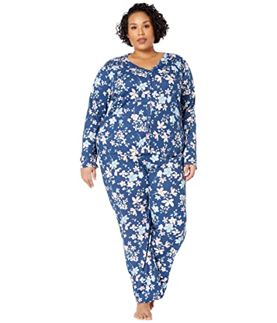 Karen Neuburger Plus Size Soiree Long Sleeve Cardigan PJ (Navy Peony Floral) Women