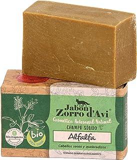 Jabón Zorro D'Avi | Champú Sólido de Alfalfa | 120 gr | Para Pelo Frágil y Dañado | Champú Sólido Zero Waste | Cierra Punt...