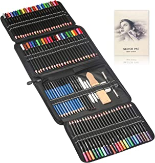 144pcs Painting, Drawing & Art Supplies Set - Colored Drawing Pencils Set - Sketching, Graphite Pencils with Portable Cas...