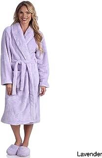 CozyHome Ultrasoft Plush Bathrobe and Slipper Set, Medium, Lavender