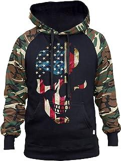 Men's Huge American Skull Black/Camo Raglan Baseball Hoodie Black