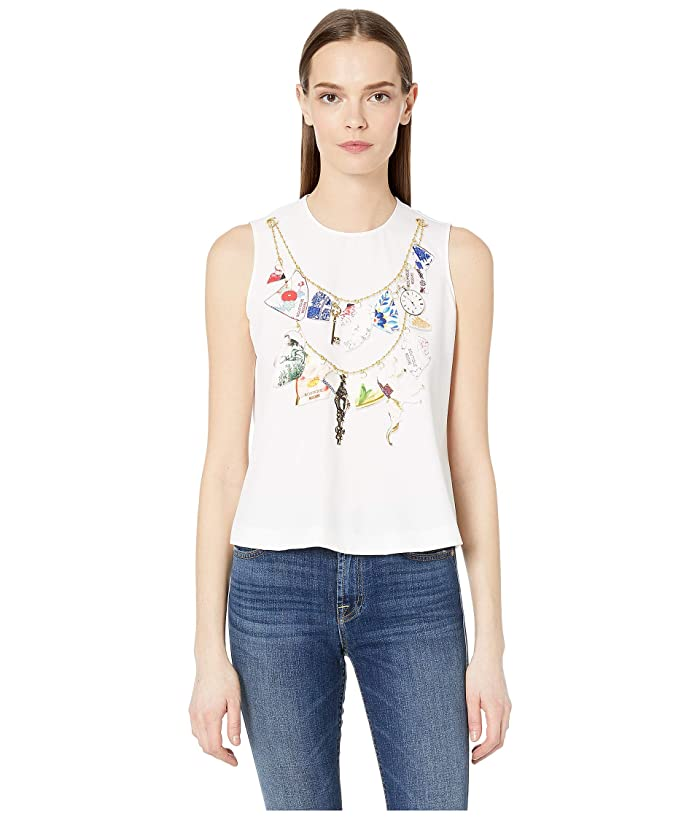 Boutique Moschino Sleeveless Colorful Print Blouse (White) Women's Blouse