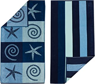 """100% Cotton 2-Pack Beach Towel. Soft Absorbent Quick Dry Towel Set. Playa Collection. (30"""" x 60"""", Starfish / Stripe)"""