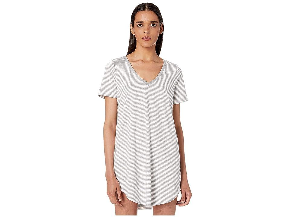 Skin Mollie Sleep Shirt (White/Heather Grey Stripe) Women