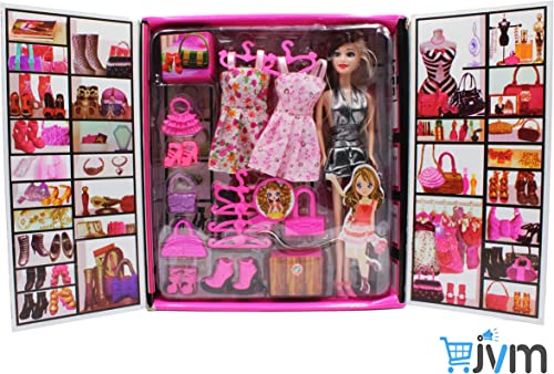 JVM Girl Doll And Her Personal Style Wardrobe Set Toy For Kids Girl S Fashion Stylish Dresses And Accessories