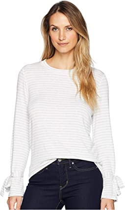 Round Neck Tie Cuff French Terry Knit Top