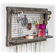 SoCal Buttercup Rustic Jewelry Organizer with Bracelet Rod Wall Mounted | Wooden Wall Mount...